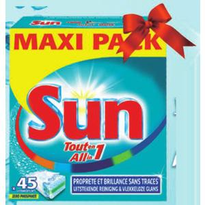 4x Tablettes Lave-Vaisselle Sun Tout En 1 (4x 45 lavages)