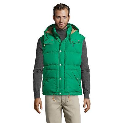 Doudoune Ralph Lauren sans manches, capuche amovible, logo vert