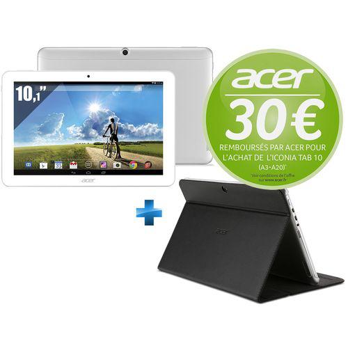 "Tablette 10.1"" Acer Iconia Tab A3-A20 32Go (avec ODR 30€) + Portfolio case - Noir/Gris"
