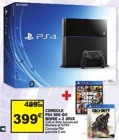Console PS4 noire 500Go + Call of Duty Advanced Warfare + GTA V