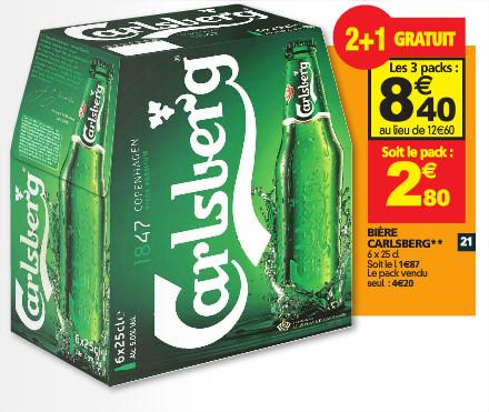 3 packs de bière Carlsberg