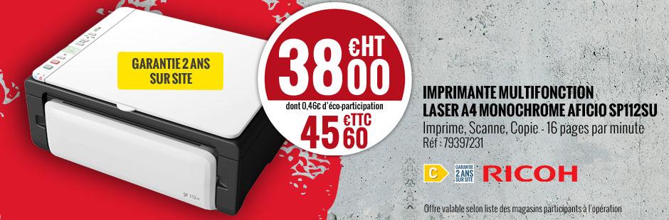 Imprimante laser multifonctions Ricoh SP 112SU - Noir et blanc - A4