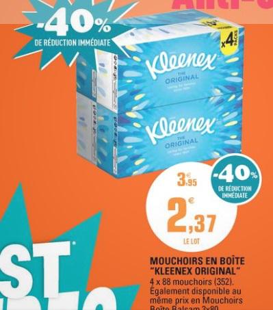 Le lot de 4 boites Kleenex Original (via bon de réduction)