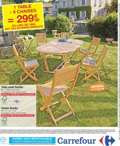 Salon de jardin en eucalyptus avec 1 table et 6 chaises for Catalogue carrefour salon de jardin