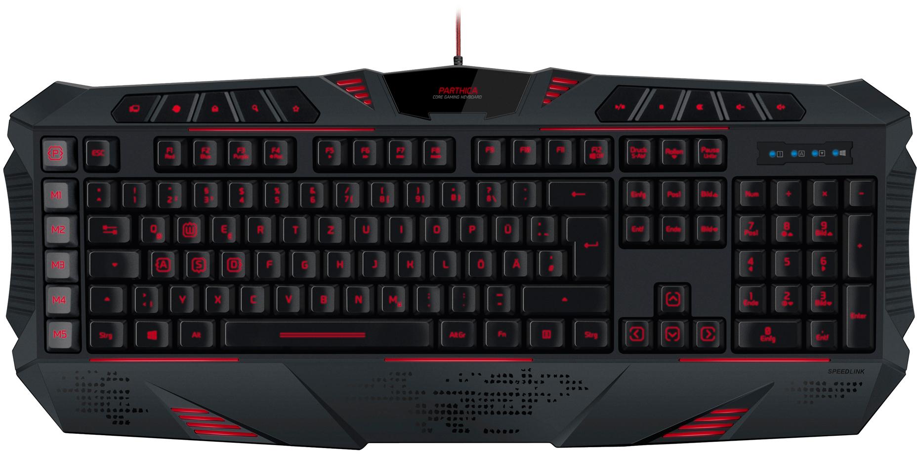 clavier  Gaming rétroéclairé  Speedlink Parthica Core