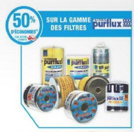 50% de réduction (sur la carte) sur toute la gamme de filtres Purflux