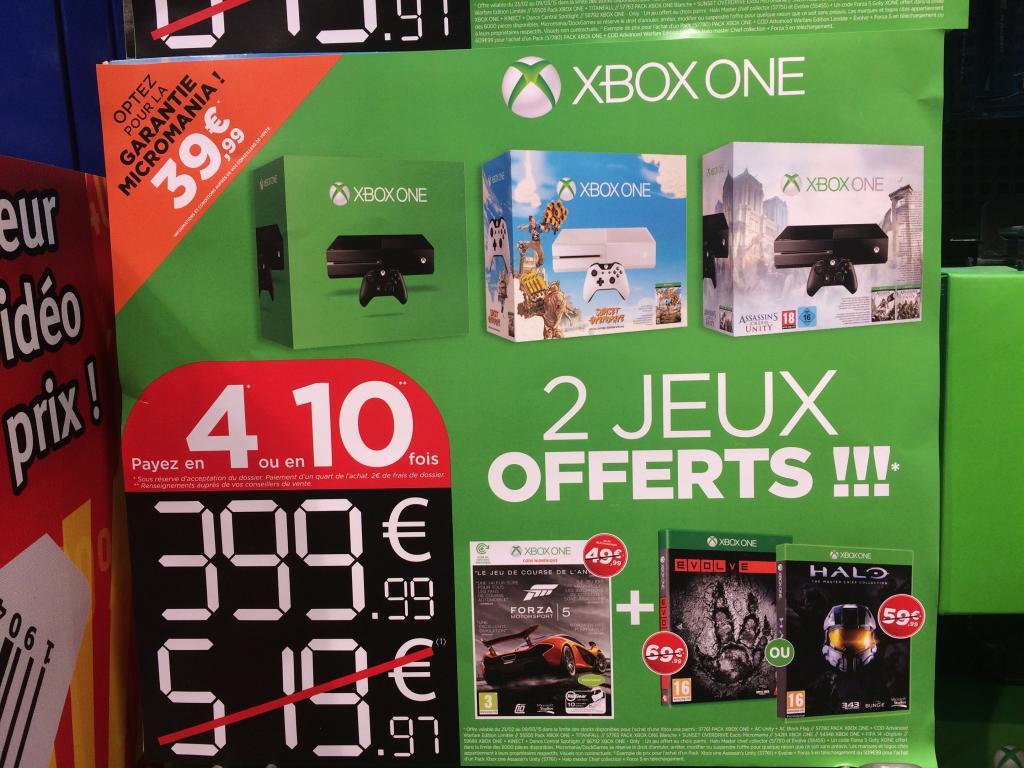 Console Xbox One avec 3 ou 2 jeux au choix