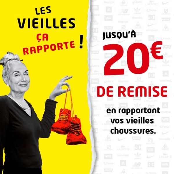 Une paire de chaussures usagée rapportée = Jusqu'à 20€ de remise pour l'achat de votre nouvelle paire
