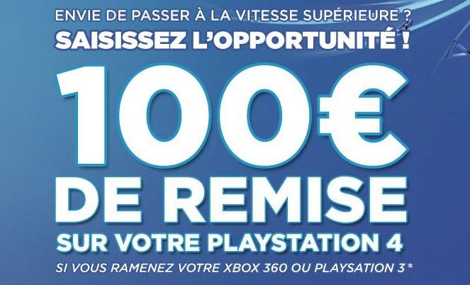 PS3 ou Xbox 360 reprise à 100€ pour l'achat simultané d'une PS4 ou Xbox ONE ou Wii U