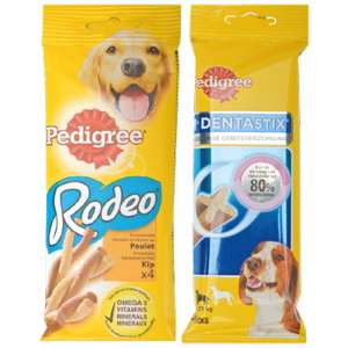 friandises pour chien à mâcher 70 grammes pedigree rodeo ou dentastix