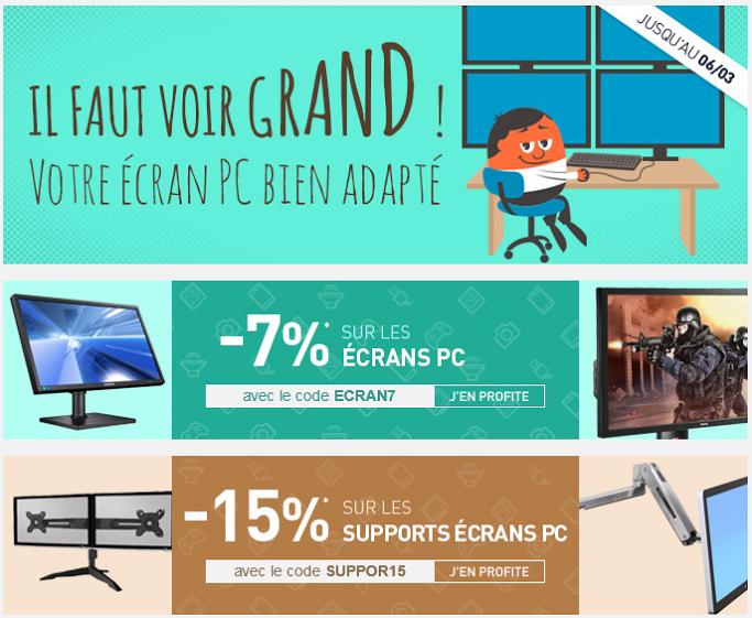15% de réduction sur les supports écran et -7% sur les écrans PC