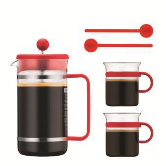 Coffret Bodum cafetière ou théière à piston  1L + 2 tasses + 2 mélangeurs