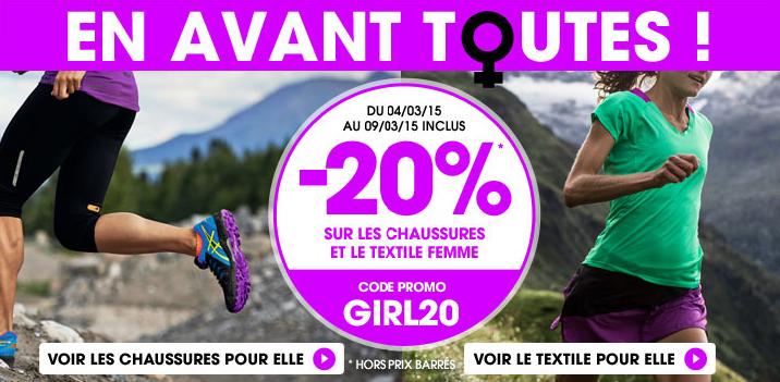 20% de réduction  sur les chaussures et textile femme