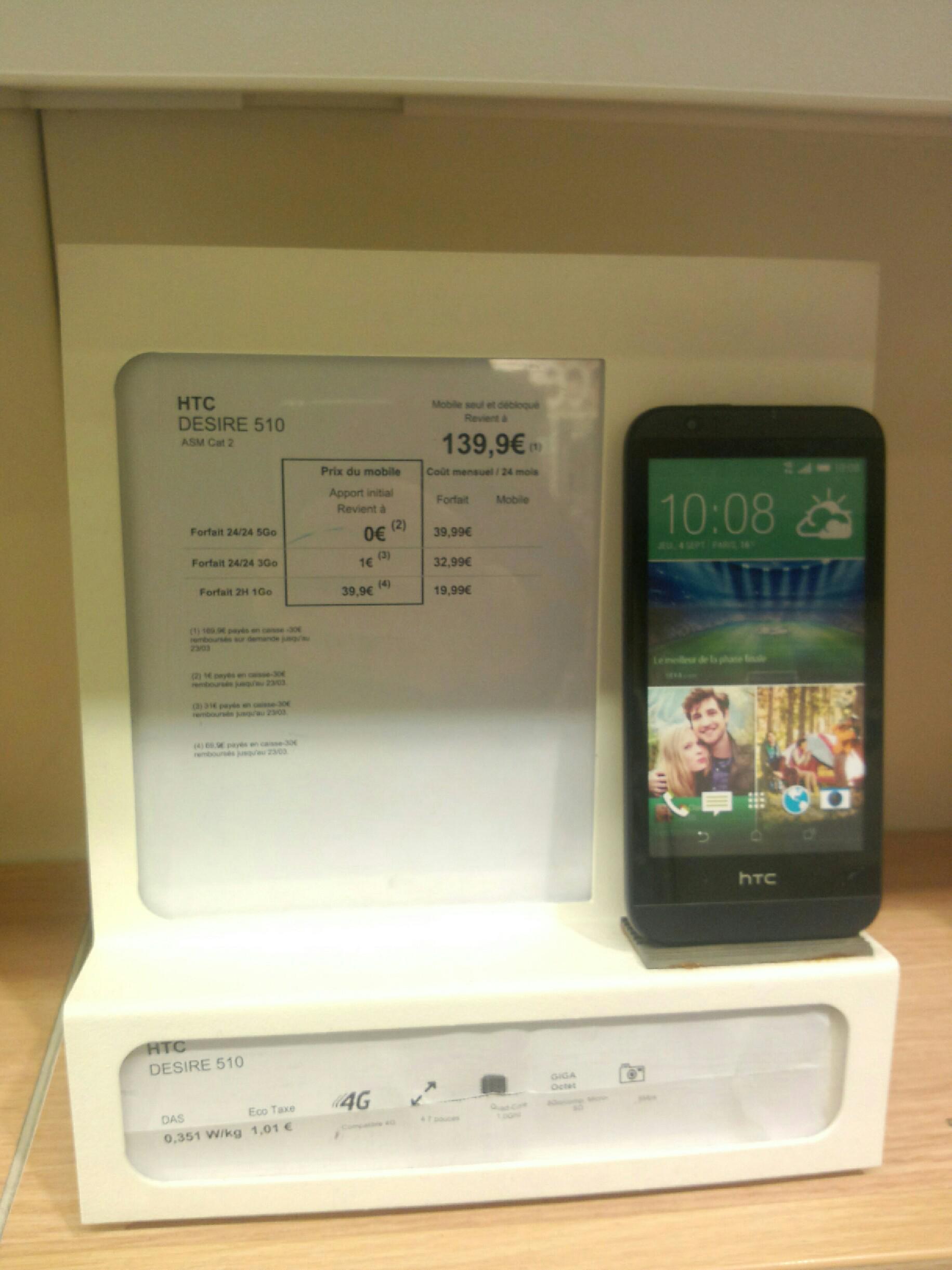"Smartphone HTC Desire 510 4.7"" - 8 Go - 4G - anthracite"
