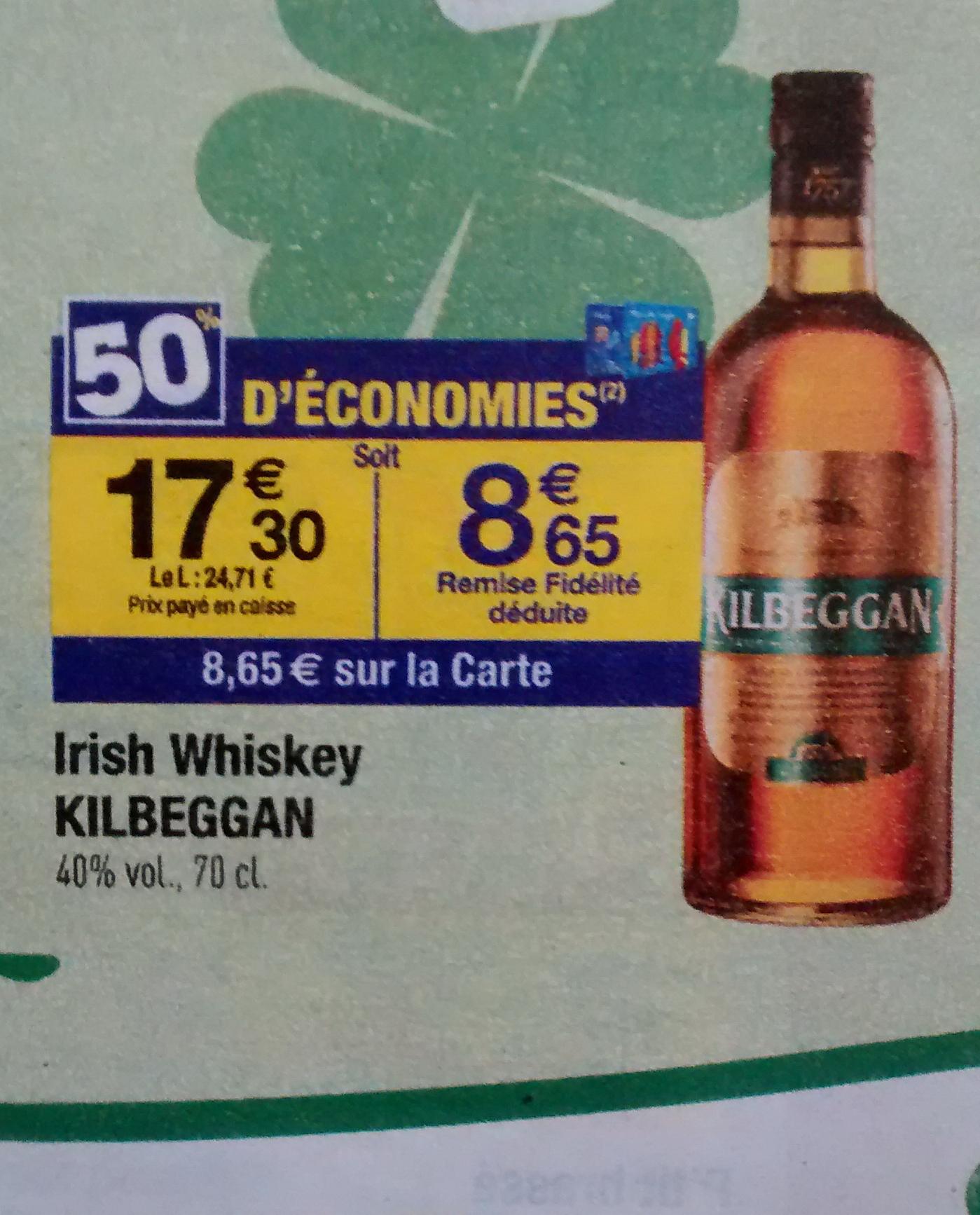 Whiskey Irlandais Killbegan (50% sur la carte)