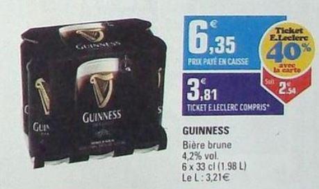 1 pack de bière brune Guiness 6x33cl