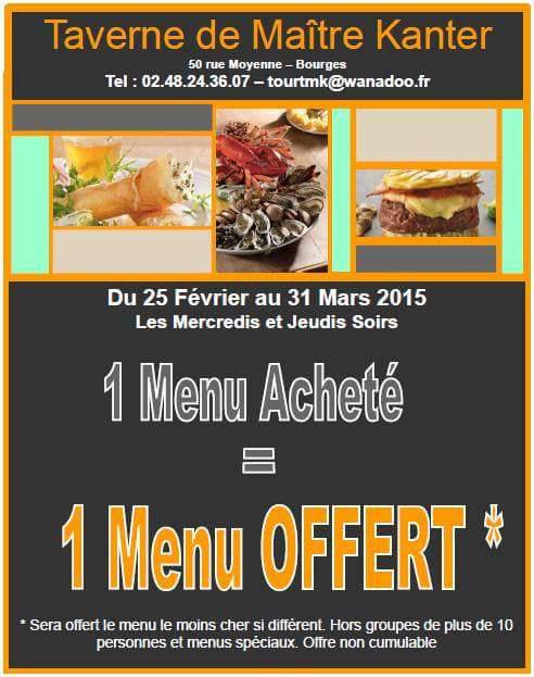 1 menu acheté = 1 menu offert le mercredi et jeudi soir