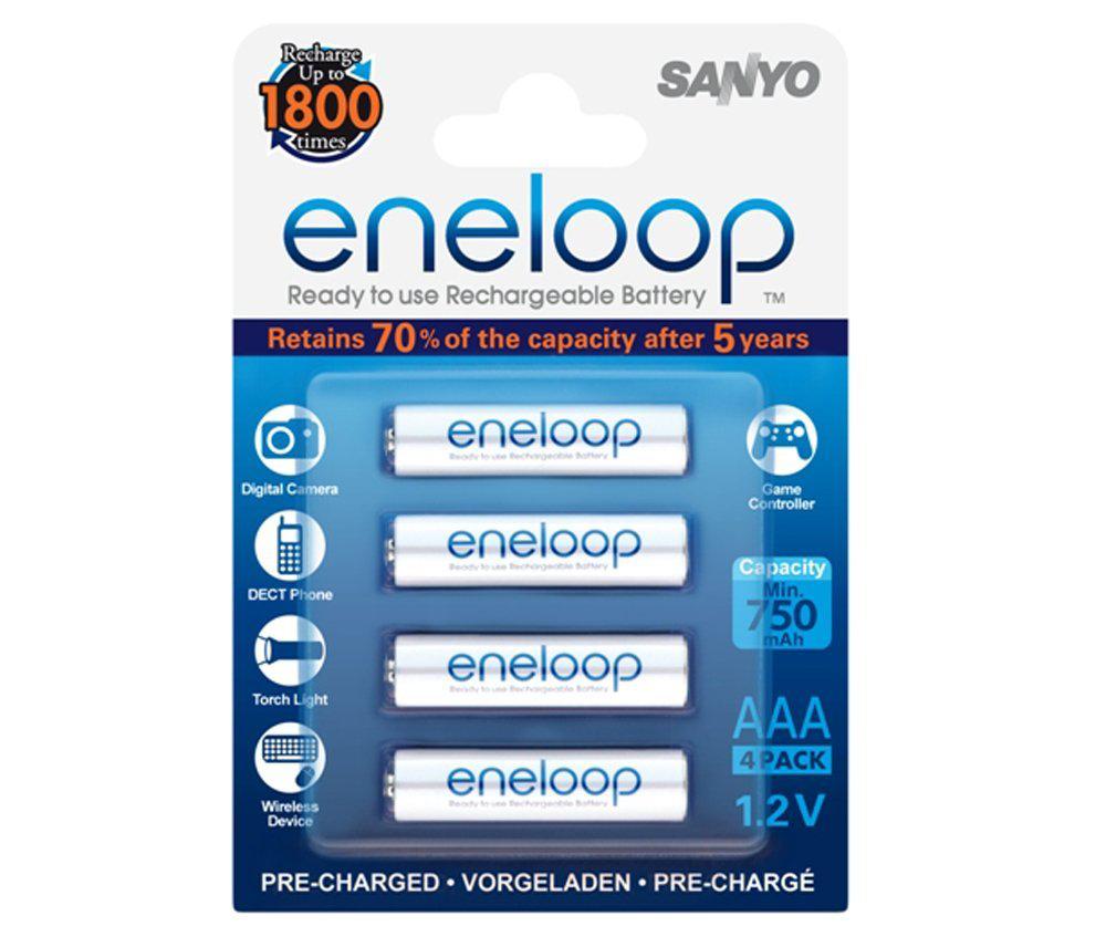 4 piles rechageables Sanyo Eneloop type AAA