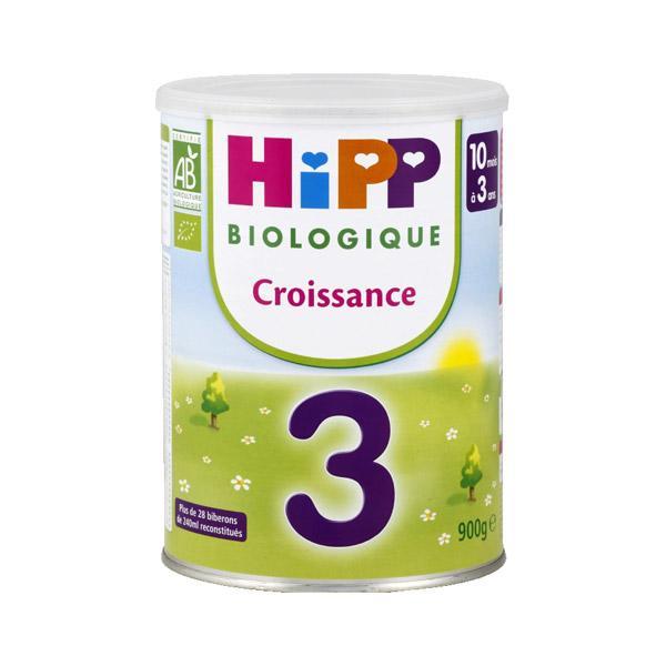 Lot de 4 boites de lait de croissance Bio Hipp 3ème âge - 900 gr