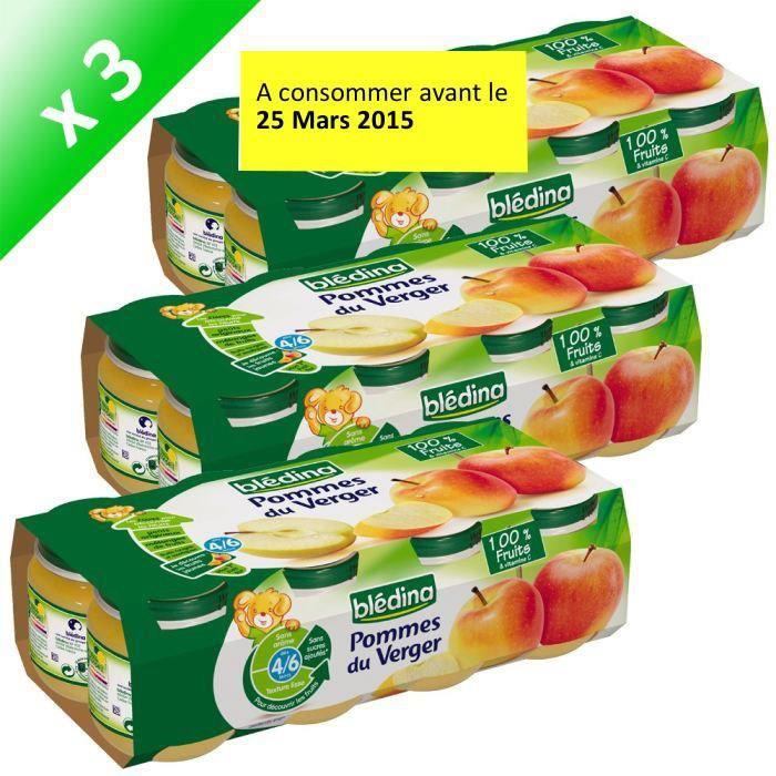 Lot de 3 packs de 8 Pots Fruits Pommes Du Verger Bledina 130g