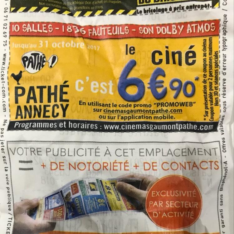 Place de cinéma au Pathé Annecy (74)