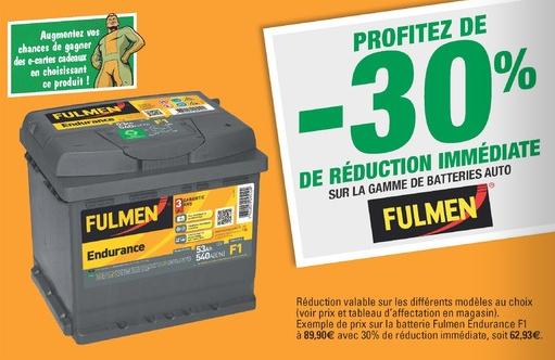 30% de réduction immédiate sur les batteries Fulmen - Ex: Batterie Fulmen Endurance F1