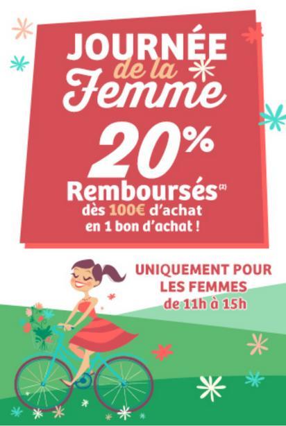20% remboursés en bon d'achat dès 100€ d'achat via l'application ou site mobile (Uniquement pour les femmes de 11h à 15h)