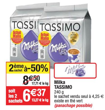 Lot de 2 paquets de dosettes Tassimo Milka