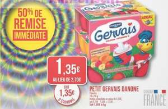 Petit Gervais Danone (50% de remise immédiate + 0.40€ en bon de réduction)