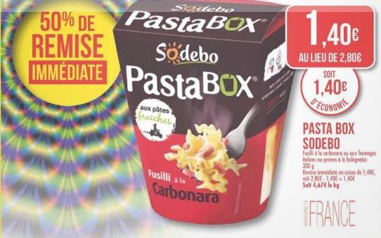 Pastabox de Sodebo 300g (50% de remise immédiate + 0.50€ de bon de réduction)