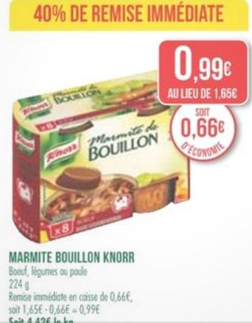 bouillon Marmite Knorr Boeuf ou Légumes ou Poule (40% de remise immédiate + 0.50€ de bon de réduction)