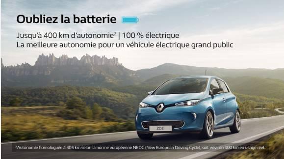 Location mensuelle de la batterie pour Renault ZOE (pour tout contrat souscrit sur la base de 7 500 km annuel à 69€/mois) - Pendant 1 an à 1€