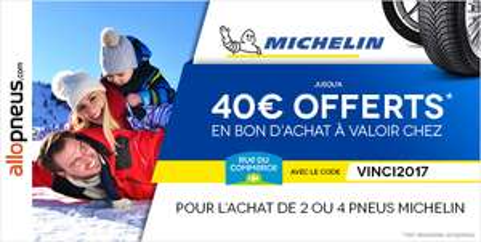 40€ offerts en bon d'achat à valoir chez Rueducommerce pour l'achat de 2 ou 4 pneus Michelin