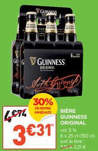 Pack de Bière Guiness Original 6x 25 cl (30% de remise immédiate + 2.50€ BDR)