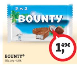 Sélection de friandises en promotion - Ex : Paquet de 10 barres Bounty