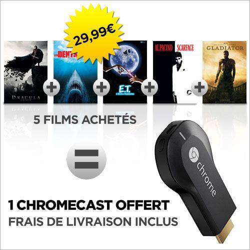 Clef HDMI multimédia Google Chromecast + 5 Films en VOD
