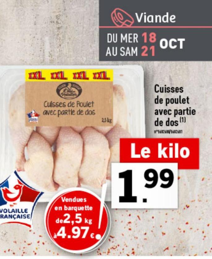2.5 Kg de cuisses de poulet