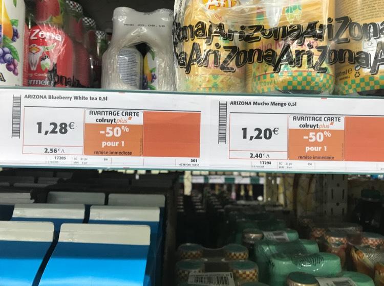 [Carte Colruyt Plus] Sélection d'articles en promotion - Ex : bouteille d'Arizona Blueberry White et Mucho Mango - 50 cl chez Colruyt Bethoncourt (25)