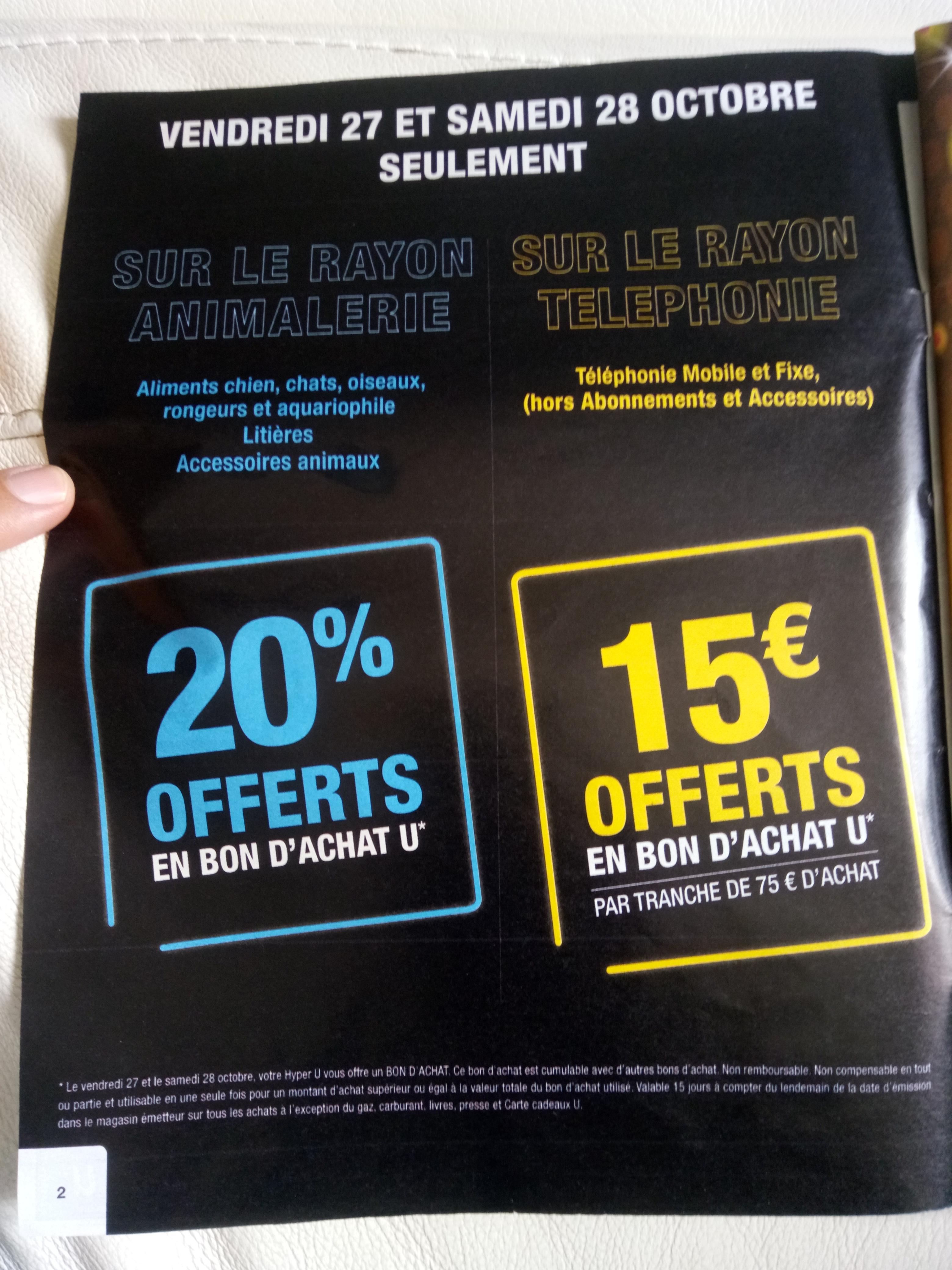 15€ offerts en bon d'achat par tranche de 75€ sur la téléphonie mobile et fixe - Hyper U