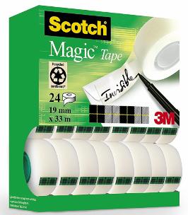 Lot de 24 Rouleaux de Ruban Adhésif Scotch Magic - 19mm x 33m