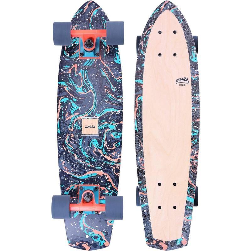 Sélection de Skateboards Cruiser Yamba Oxelo en promo  -  Ex : Skateboard Modèle en bois turquoise à