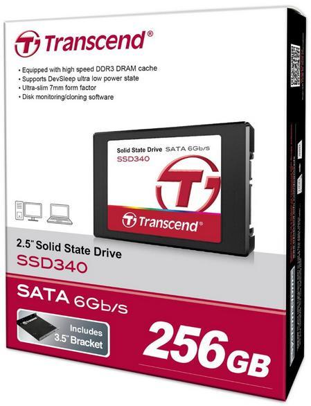 "SSD 2.5"" Transcend 256Go - Sata III avec adaptateur 3,5"