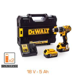 Perceuse à percussion Dewalt 18V Brushless - 2 bat Li-ion XR 5Ah + chargeur + coffret TSTAK