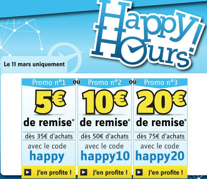 5€ de réduction dès 35€ d'achats, 10€ dès 50€ et 20€ dès 75€ sur tout le site (hors produits remisables), de 18h à 22h