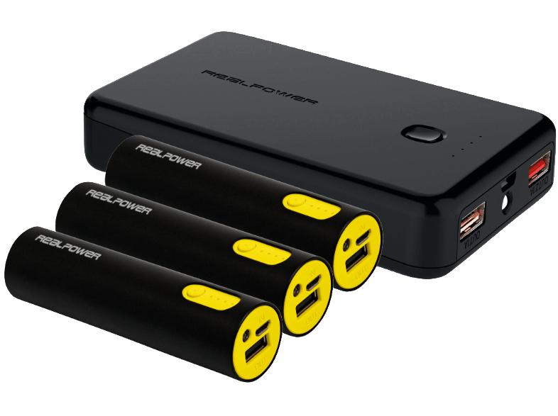 Sélection de Produits en Promotion - Ex: Batterie Externe Realpower Powerbank Family-Pack PB-17800 (10000mAh + 3 x 2600mAh)