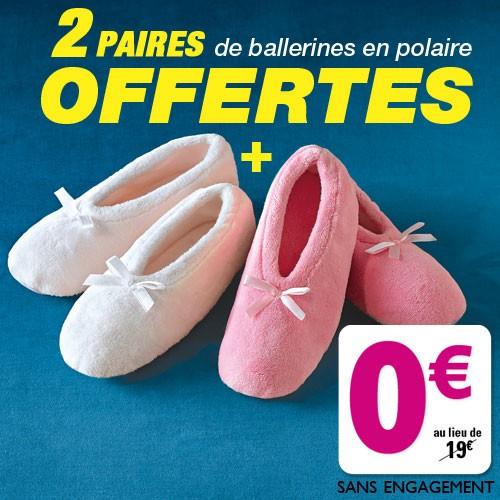 2 paires de Ballerines en polaire (frais de port inclus) -Tailles 36 à 41