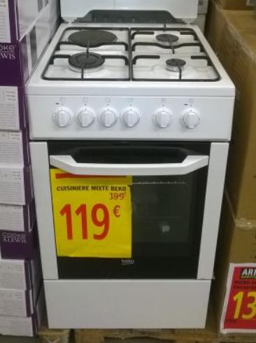 Cuisinière Beko 3 feux gaz + 1 électrique 50cm (Brico Dépôt La Rose Marseille - 13)