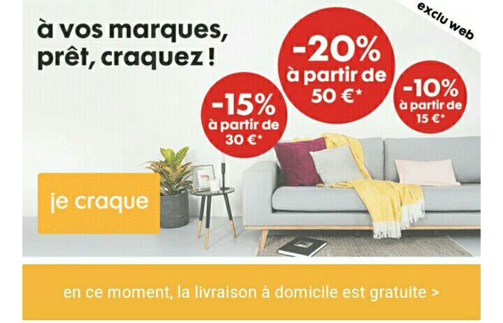 Jusqu'à -20% sur une sélection de produits : 10% à partir de 15€ d'achats, 15% à partir de 30€ et 20% à partir de 50€