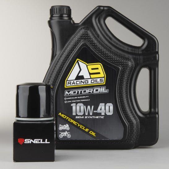 Huile moteur 10W50 A9 Racing Semi synthétique + filtre à huile Snell