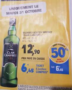 Bouteille de Whisky Clan Campbell - 70cl (via 6.45€ en ticket Leclerc)